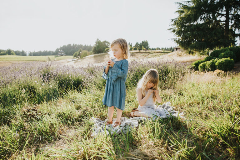 Child portrait session with two sisters examining dandelion flowers in the grass taken at Helvetia Lavender Farm near Hillsboro and Portland Oregon.