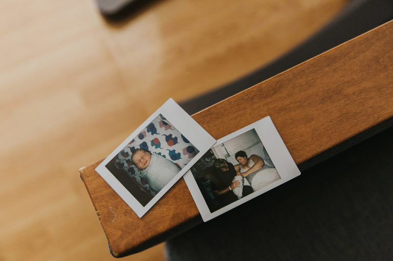 Polaroids featuring a family with a fresh newborn at Legacy Good Samaritan located in Portland Oregon.