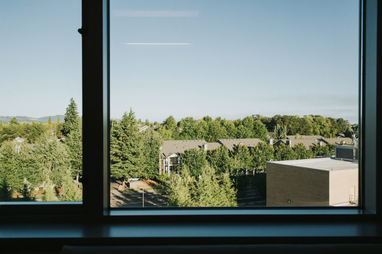 Looking at the window at the view from the hospital room at Kaiser Westside in Hillsboro, Oregon.