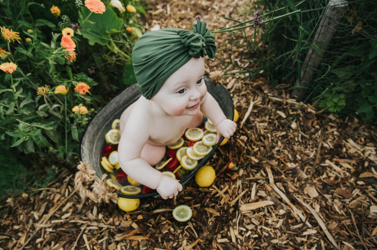 Strawberry and lemon fruit bath to celebrate Evie's first birthday in Hillsboro, Oregon.